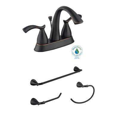 Edgewood 4 in. Centerset 2-Handle Bathroom Faucet with 18 in. Towel Bar, Towel Ring and TP Holder in Bronze