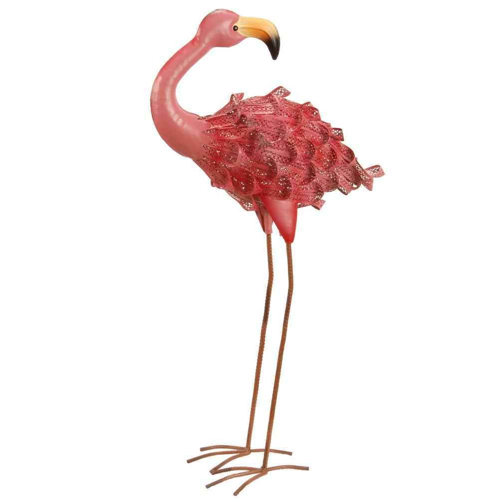 30 in. Spring Decor Pink Flamingo Garden Statues