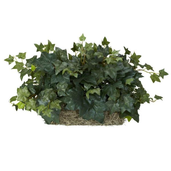 Indoor 12 in.H Green Ivy Ledge Plant (Set on Foam) Silk Plant