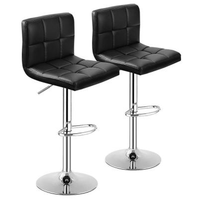 Black PU Leather Bar Stools Adjustable Swivel Kitchen Counter Bar Chair (Set of 2)