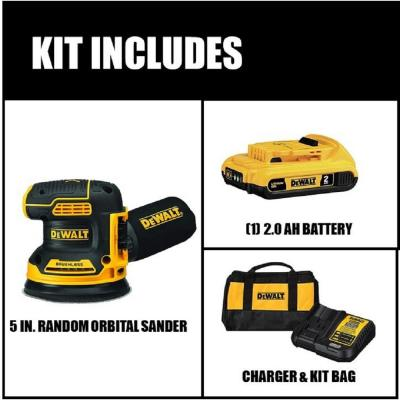 20-Volt Max Lithium-Ion Cordless Brushless 5 in. Random Orbit Sander Kit with Battery 2.0 Ah, Charger and Bag