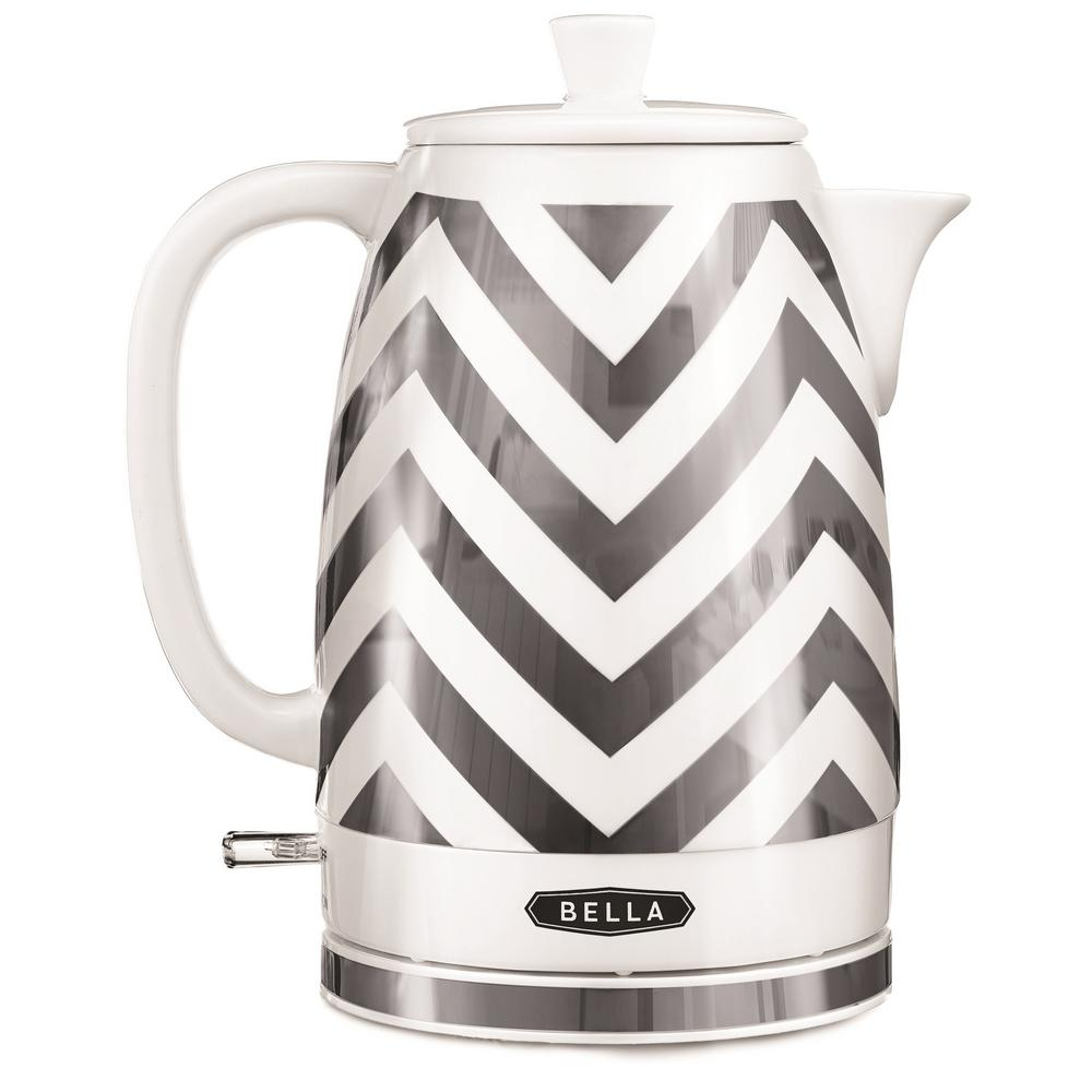 7.6-Cup Silver Chevron Electric Kettle with Automatic Shut-off 7.6-Cup Silver Chevron Electric Kettle with Automatic Shut-off
