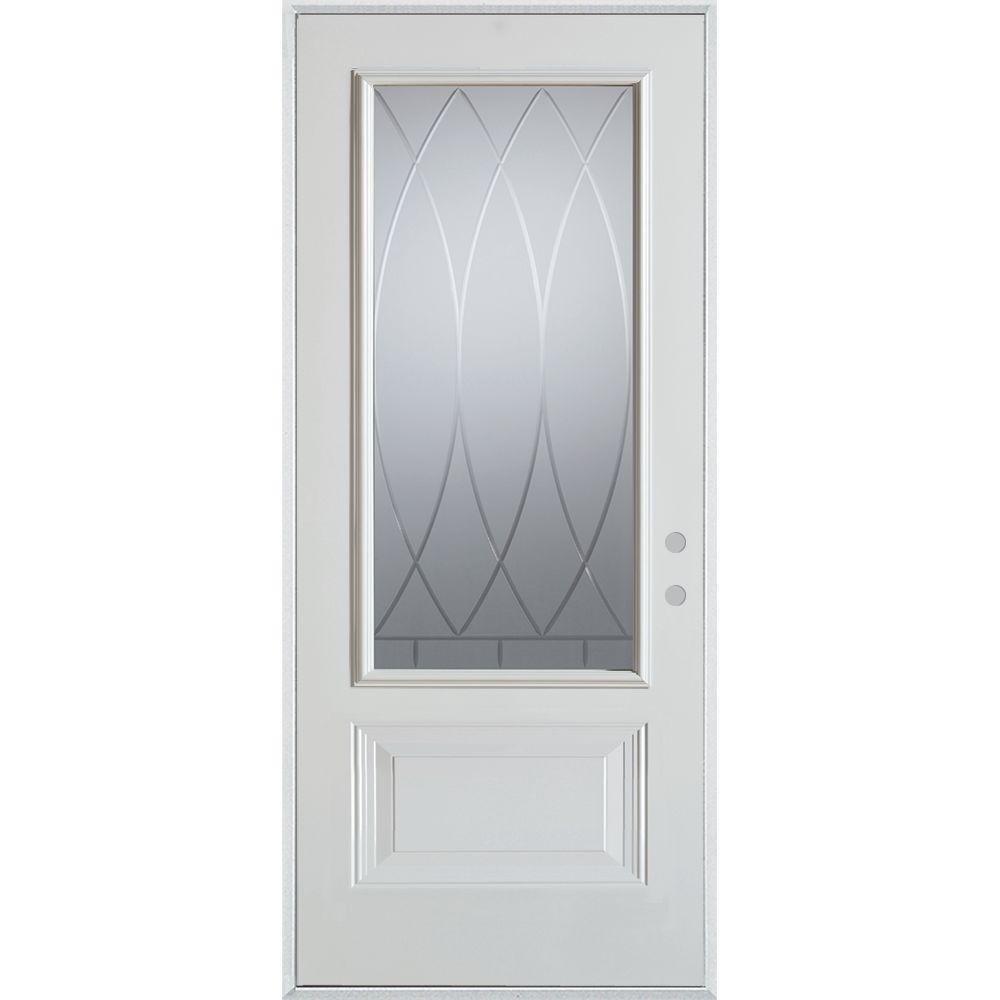 32 in. x 80 in. V-Groove 3/4 Lite 1-Panel Painted White Left-Hand Inswing Steel Prehung Front Door