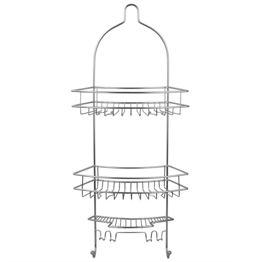 Home Basics Minimal Annti-Slip Shower Caddy in Satin Nickel