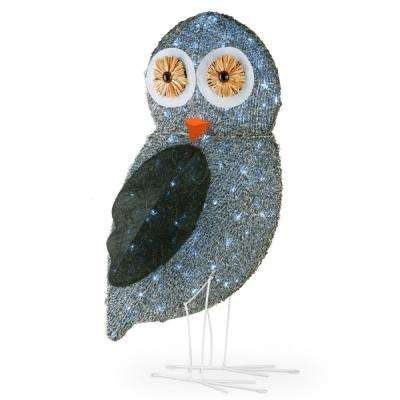 37 in. Fuzzy Fabric Owl with 105 Cool White LED Lights