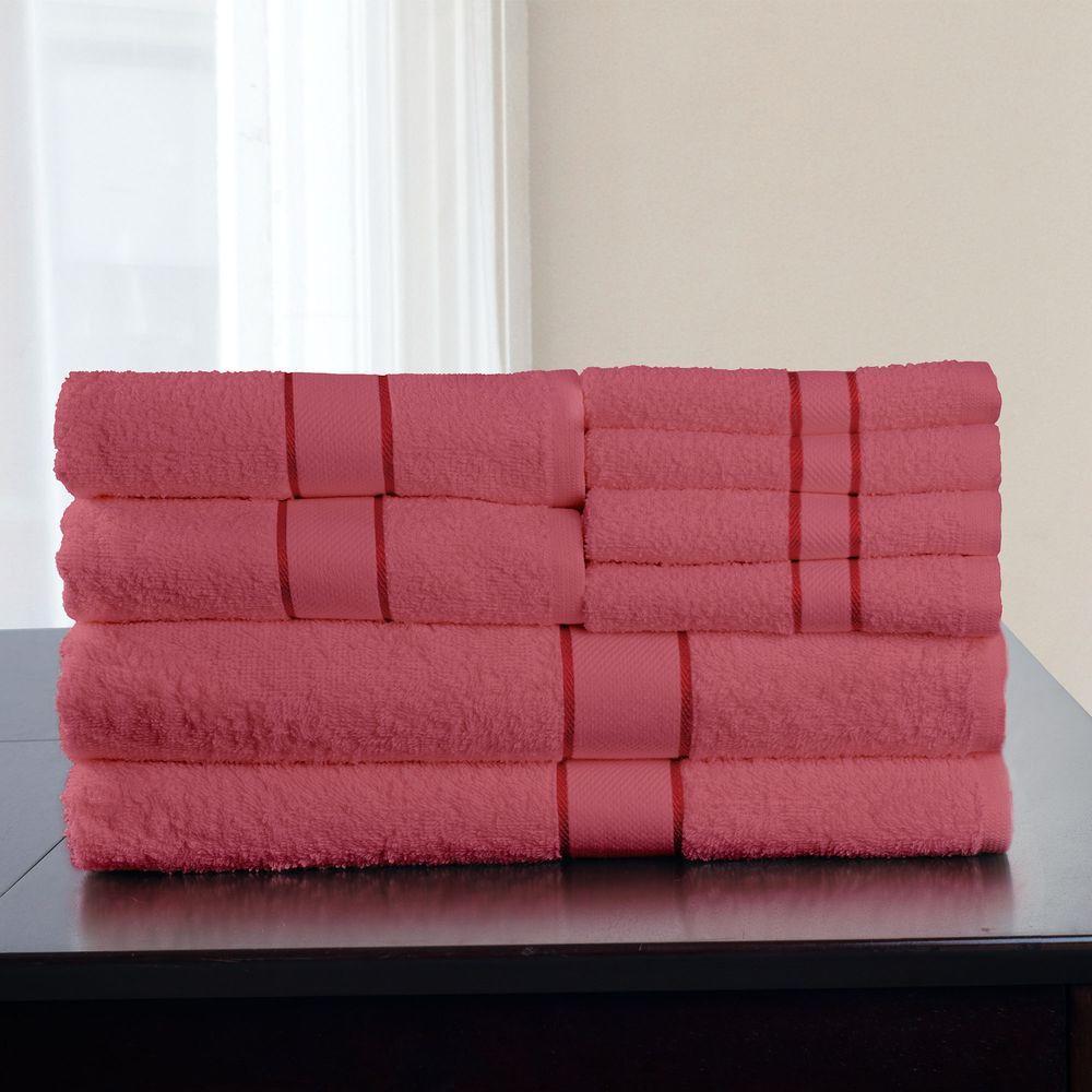 Lavish Home 8-Piece 100% Cotton Bath Towel Set in Rose
