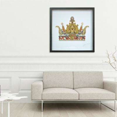 "30 in. x 30 in. ""Crown with Curved Spires"" by Alex Zeng in Solid Black Frame Hand Made Art Collage"