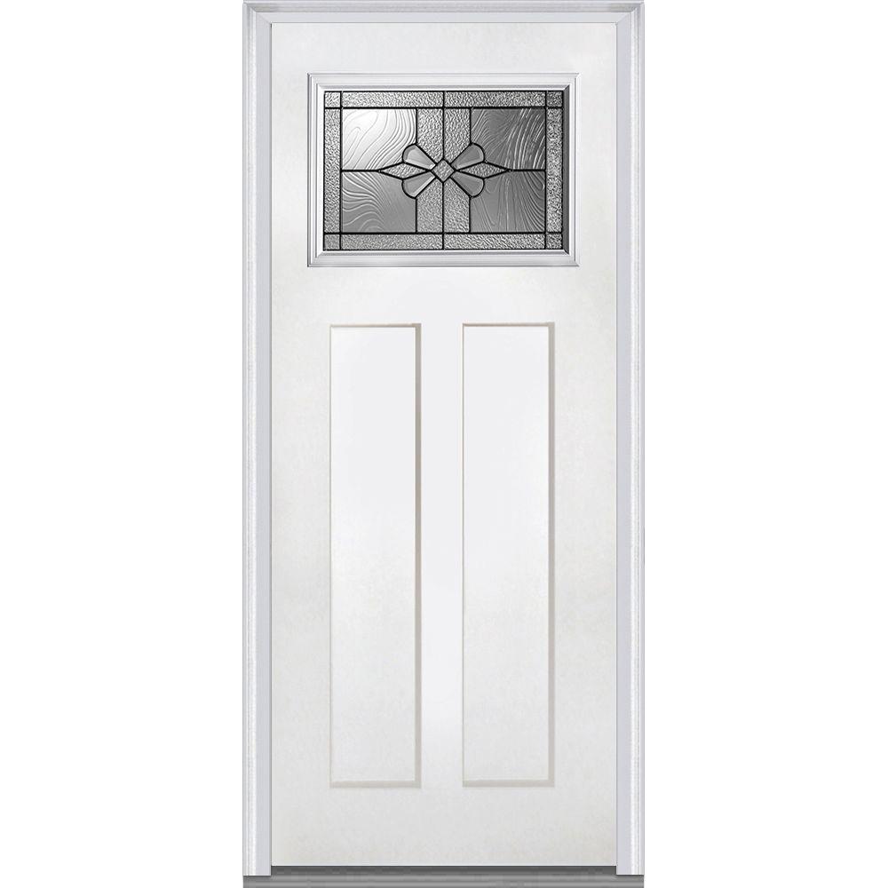 36 in. x 80 in. Dahlia Left-Hand Inswing Craftsman 1-Lite Decorative Primed Fiberglass Smooth Prehung Front Door
