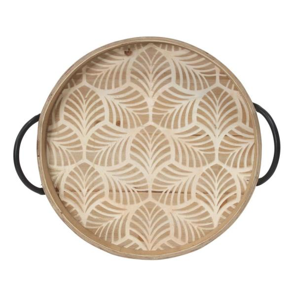 Stratton Home Decor Natural Stamped Leaf Wood Tray S30870 The Home Depot