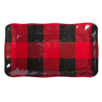 Buffalo 1-Piece Red and Black Melamine Platter