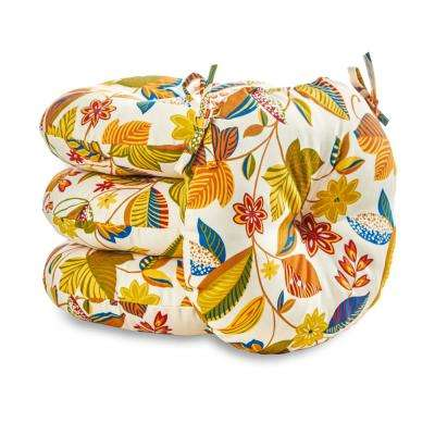 Esprit Floral 18 in. Round Outdoor Seat Cushion (4-Pack)