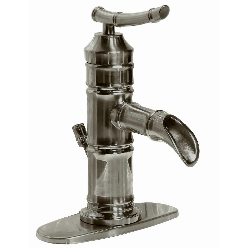 Pegasus Bamboo 4 in. Centerset 1-Handle Bathroom Faucet in Brushed Nickel