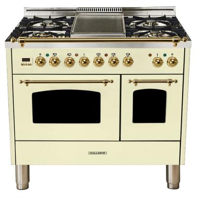 40 in. 4.0 cu. ft. Double Oven Dual Fuel Italian Range True Convection, 5 Burners, Griddle, Brass Trim in Antique White