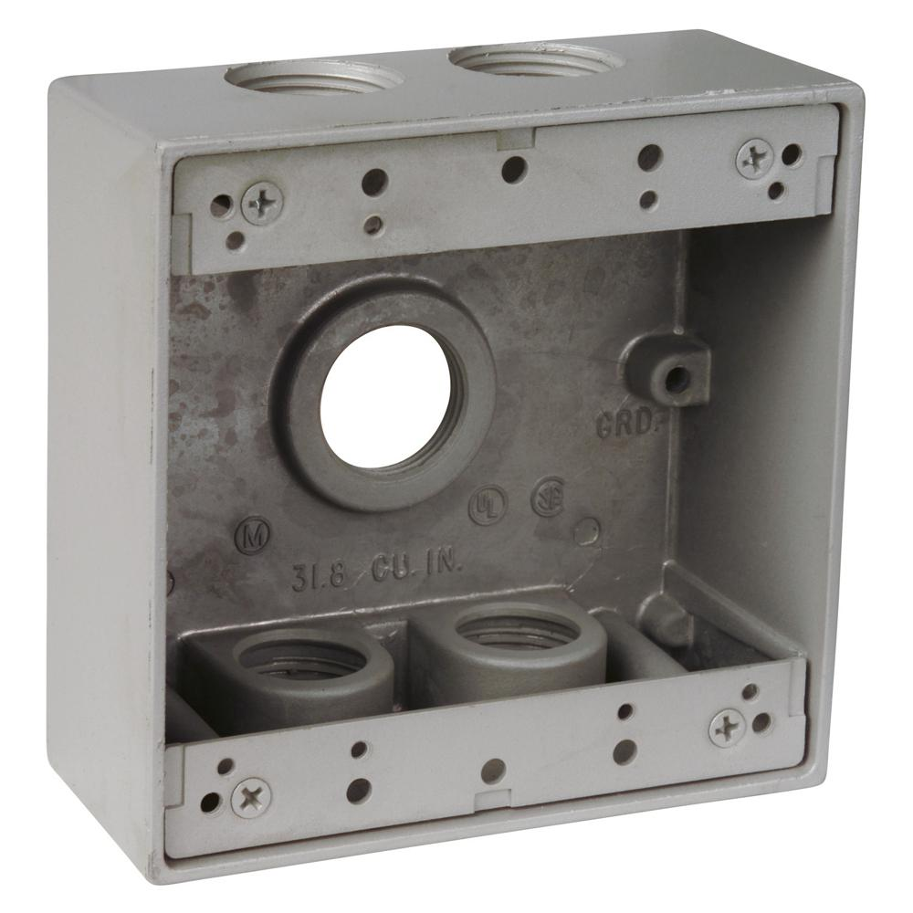 Red Dot 2-Gang Universal Weatherproof Electrical Box - Silver (Case of 9)