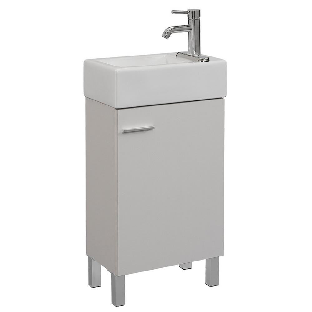 Runfine 18 in. W x 11 in. D x 34 in. H Vanity in Soft White with Vitreous China Vanity Top in White and Basin