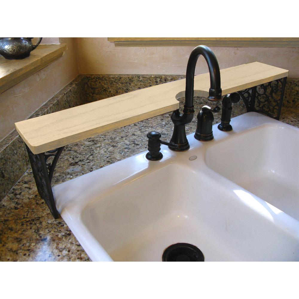 35 in. x 5.5 in. x 8 in. Oak Unfinished Kitchen Sink Shelf Double Bowl  Wrought-Iron Detail with Cut Out for Faucet