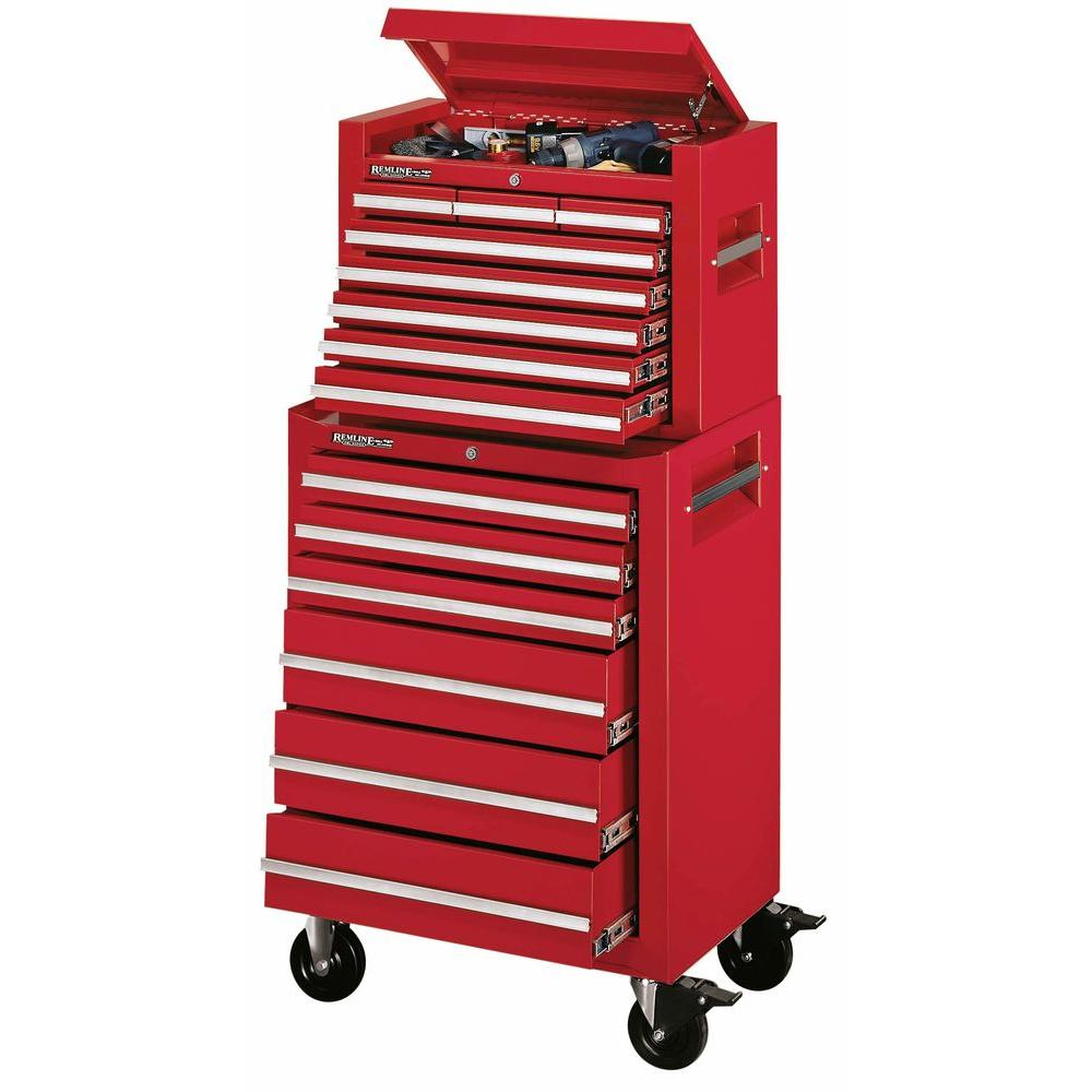 Remline 26 in. 14 Drawer Rally Red Chest/Cabinet Combo -DISCONTINUED