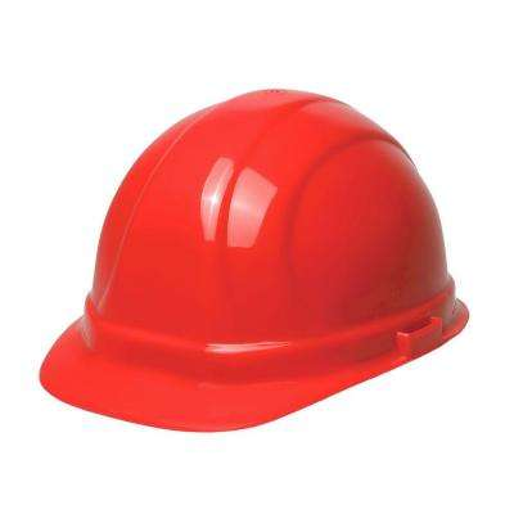 Omega II 6 Point Nylon Suspension Slide-Lock Cap Hard Hat in Red