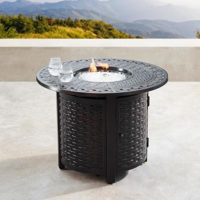 34 in. Round Aluminum Outdoor Propane Fire Table with Fire Beads, Lid, and Covers in Copper Finish