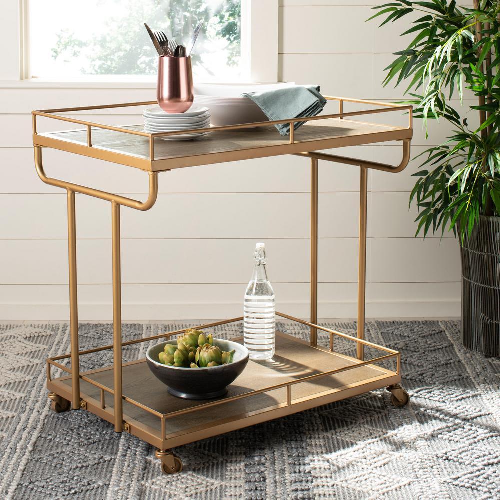 Dawson 2-Tier Rustic Oak/Gold Bar Cart
