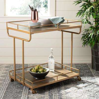 Dawson 2-Tier Rustic Oak/Gold Bar Cart