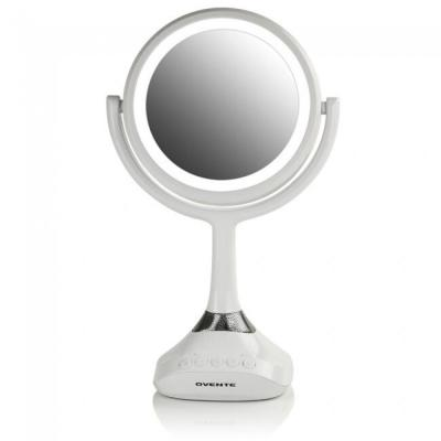 Candle Sconce Lighted Tabletop Vanity Mirror with Speaker, Wireless or MP3 Flash Drive Compatibility, White