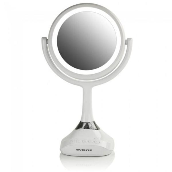 Small White Plastic Lighted Glam Mirror (12.4 in. H X 4.7 in. W)