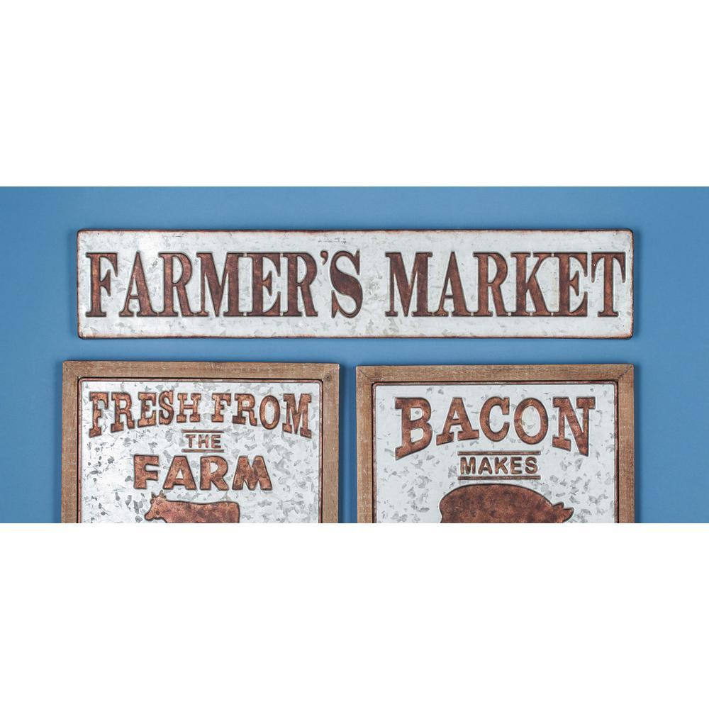 "36 in. x 7 in. Pop Arts ""Farmer's Market"" Brown Metal Wall Sign"