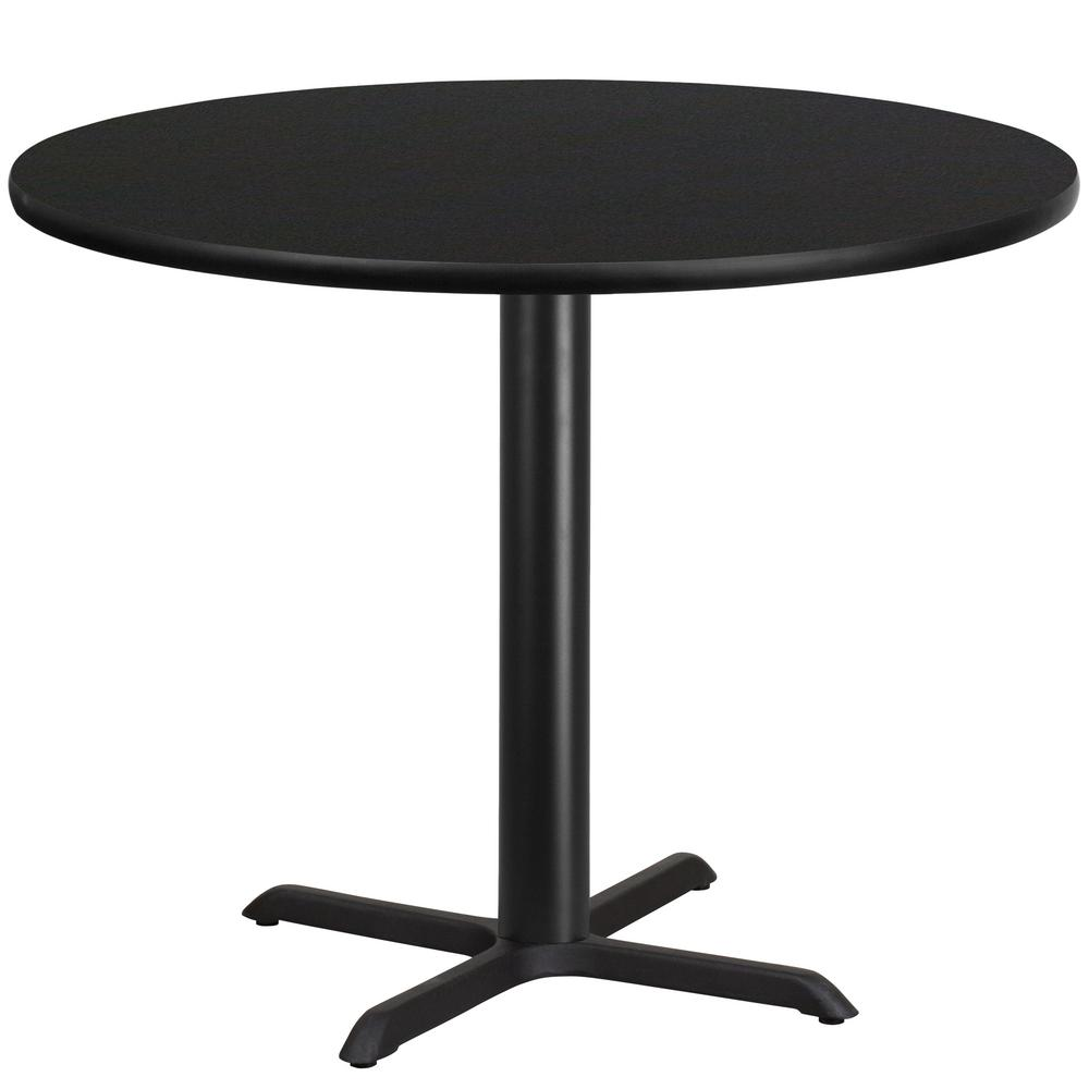 Flash Furniture In Round Black Laminate Table Top With In X - 42 round black dining table