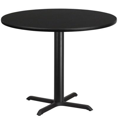 42 in. Round Black Laminate Table Top with 33 in. x 33 in. Table Height Base