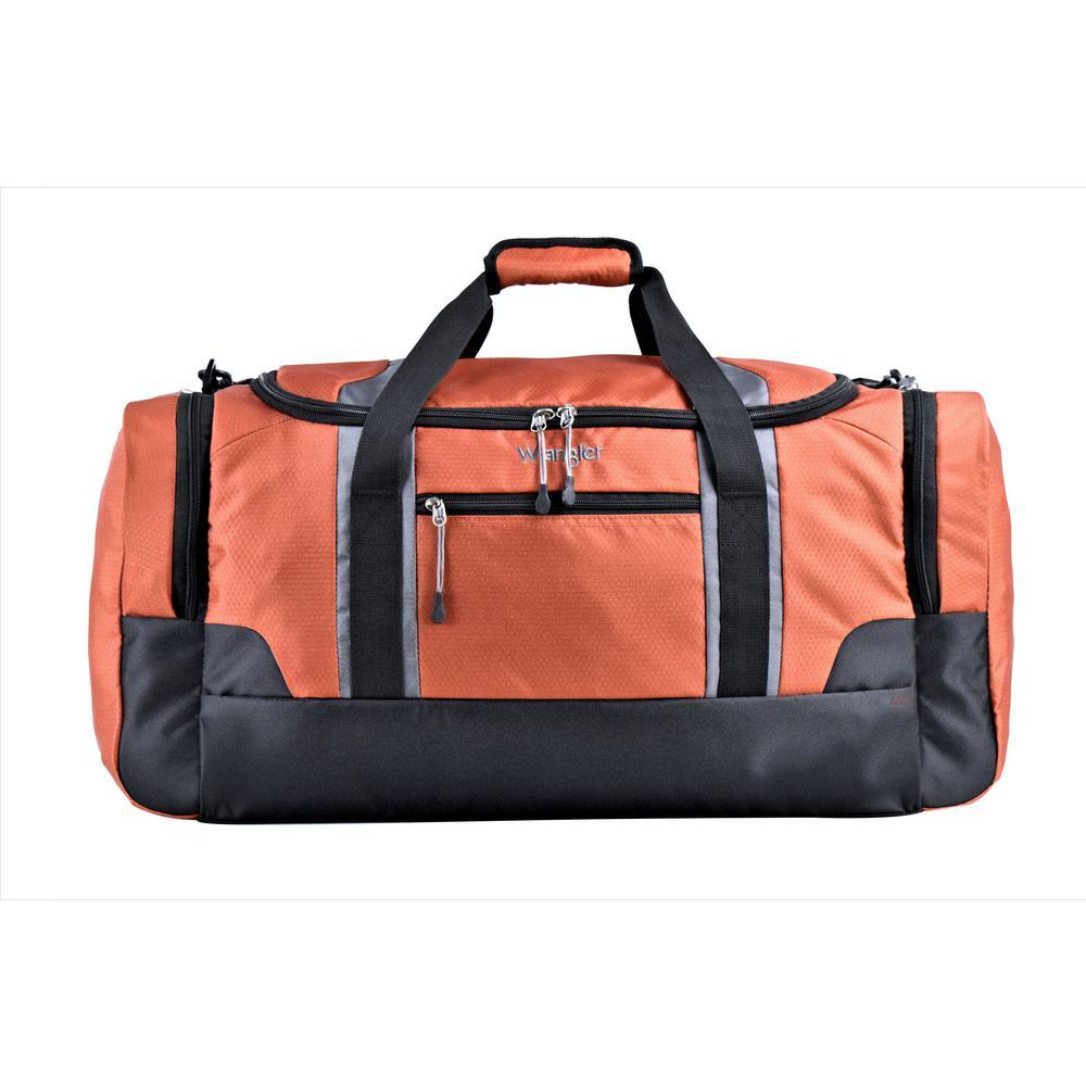 8accf6301384 Wrangler WRANGLER 24 in. Burnt Orange Multi-Pocket Sport Duffel Bag ...
