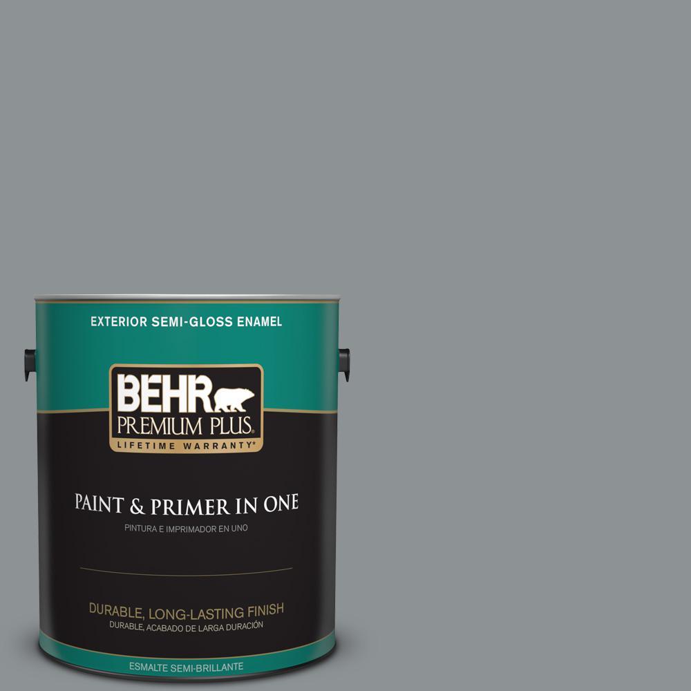 1 gal. #PPU26-05 Flint Gray Semi-Gloss Enamel Exterior Paint