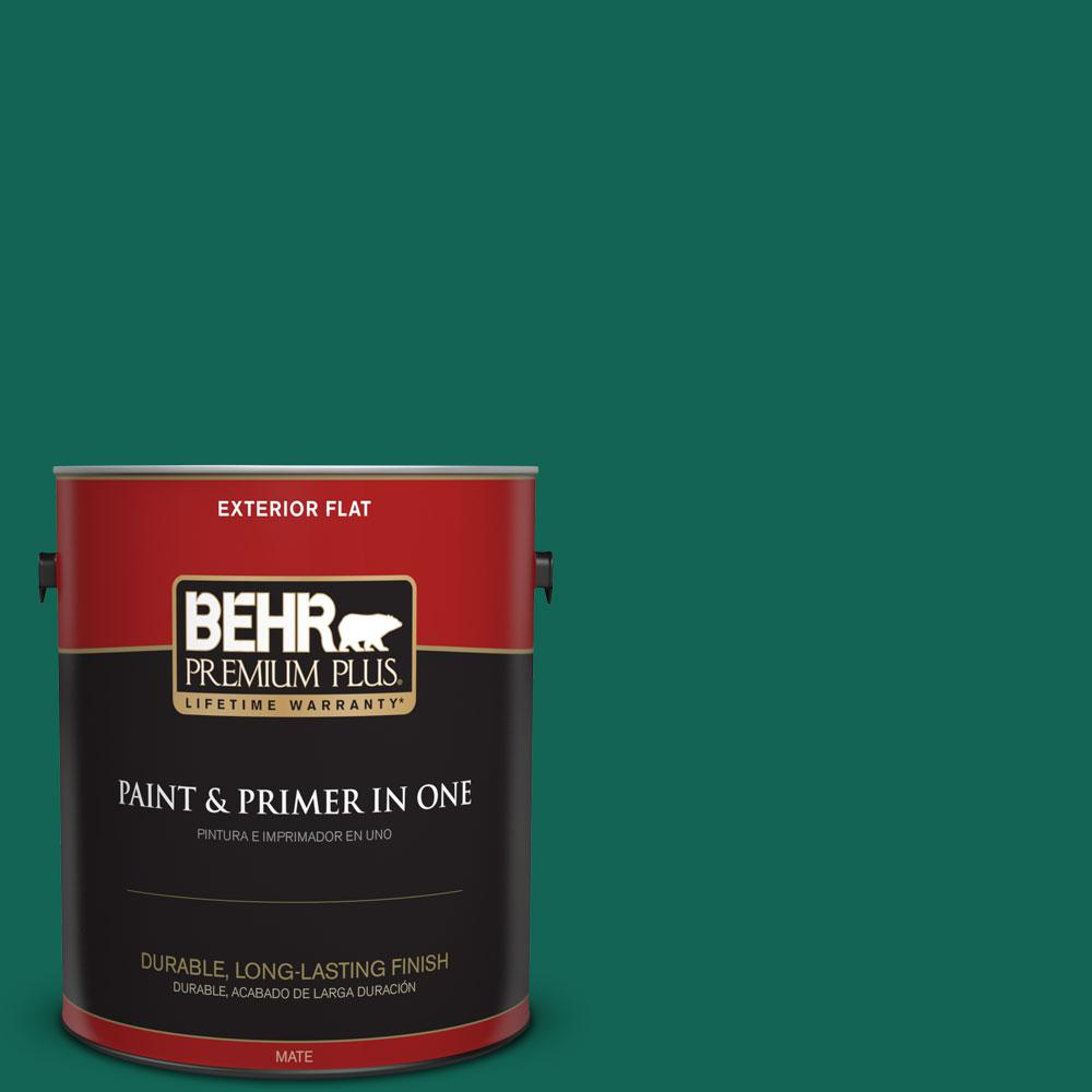 BEHR Premium Plus 1-gal. #S-H-480 Forest Rain Flat Exterior Paint