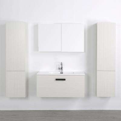 39.4 in. W x 18.1 in. H Bath Vanity in Gray with Resin Vanity Top in White with White Basin and Mirror