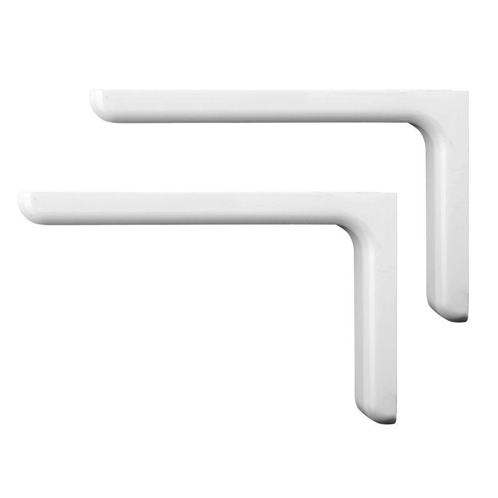 Knape & Vogt Vinyl-Finished 9-1/4 in. White Designer Steel Decorative Shelf Brackets (2-Pack)