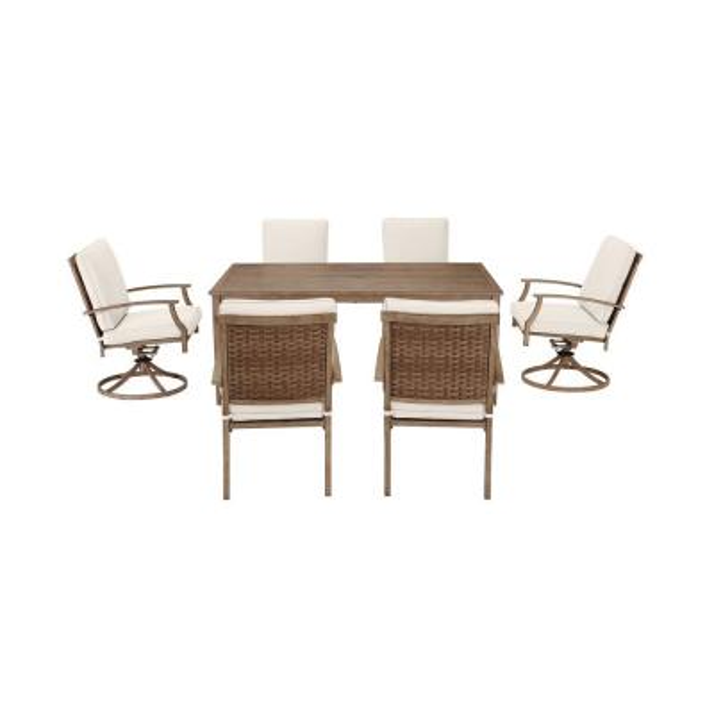 Geneva 7-Piece Brown Wicker Outdoor Patio Dining Set with CushionGuard Almond Tan Cushions
