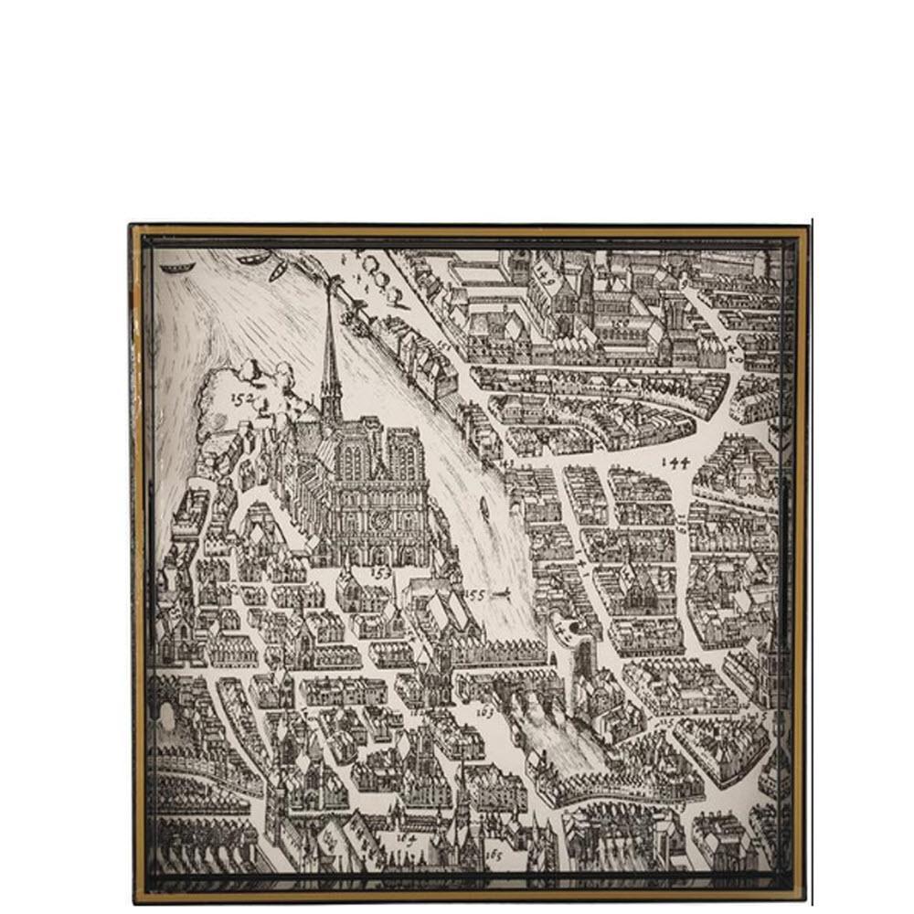 Vintage Maps Paris c.1733 Square Tray