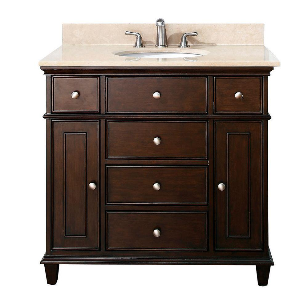 Avanity Windsor 37 in. W x 22 in. D x 35 in. H Vanity in Walnut with Marble Vanity Top in Galala Beige and White Basin
