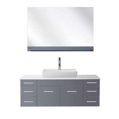Biagio 55 in. W x 22.05 in. D x 19.69 in. H Grey Vanity With Stone Vanity Top With White Odd Basin and Mirror