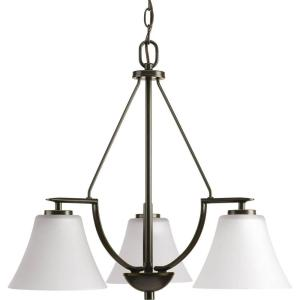Progress Lighting Bravo Collection 3 Light Antique Bronze Chandelier With White Etched Glass