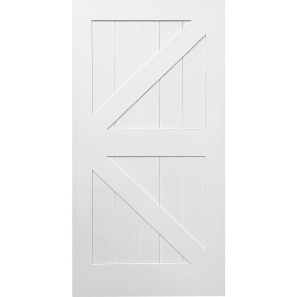 36 in. x 84 in. K-Plank Primed MDF Interior Barn Door