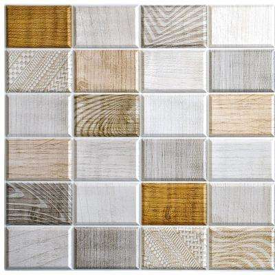 3D Falkirk Retro 10/1000 in. x 38 in. x 19 in. White Beige Brown Faux Wood Stamps PVC Wall Panel