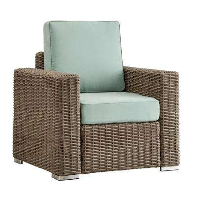 Camari Mocha Square Arm Wicker Outdoor Patio Lounge Chair with Blue Cushion