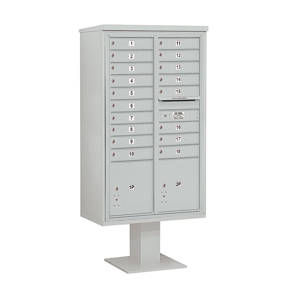 3400 Series 70-1/4 in. 15 Door High Unit Gray 4C Pedestal