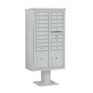 Salsbury Industries 3400 Series 70-1/4 inch 15 Door High Unit Gray 4C Pedestal Mailbox with 18 MB1 Doors/2 PL5 by Salsbury Industries