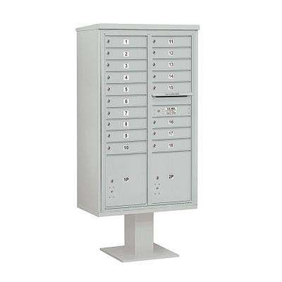 3400 Series 70-1/4 in. 15 Door High Unit Gray 4C Pedestal Mailbox with 18 MB1 Doors/2 PL5