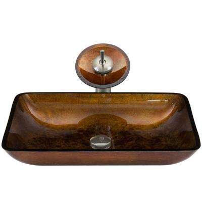 Rectangular Glass Vessel Sink in Russet with Waterfall Faucet Set in Brushed Nickel