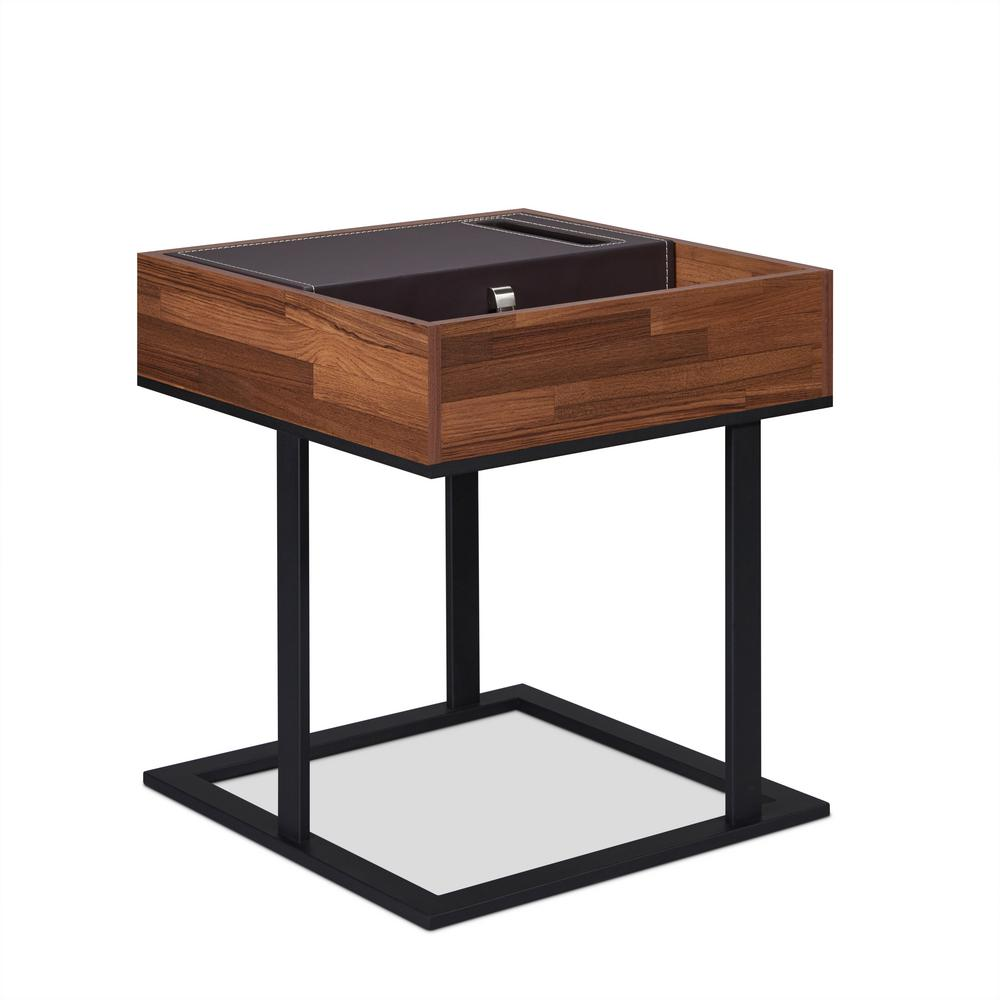 Sara I Walnut and Sandy Black Side Table
