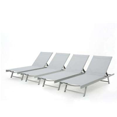 Elijah Dark Grey Adjustable 4-Piece Metal Outdoor Chaise Lounge