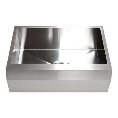 Farmhouse Well Angle Apron Front 33 in. x 22 in. x 10 in. Stainless Steel 16-Gauge Single Bowl Zero Radius Kitchen Sink